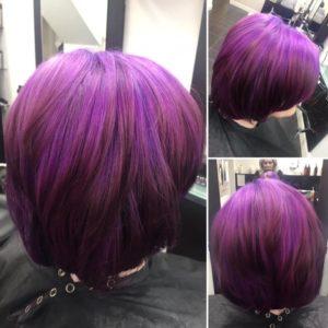 Purple hair colour, top salon Queensferry Flintshire